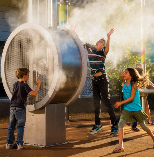 Outdoor Cooling Systems collaborated and provides the Misting Direct brand misting equipment used on this interactive exhibit.