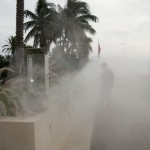 High pressure Outdoor cooling system / fogging used as a privacy screen on Star Island