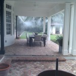Misting nozzles were installed along outer perimeter of the patio.