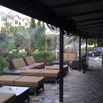 The black awning gets especially hot so the misting system is essential to keep the outdoor dining are cool.