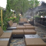 The misting system keeps the outdoor dining and lounging areas comfortable, even on the hottest days of the year.