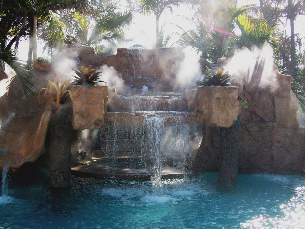 This is an example of a Misting Direct brand fog effects system installed by Outdoor Cooling Systems in Miami.