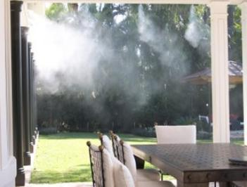 Misting system installation by Outdoor Cooling Systems